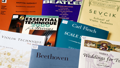 Violin sheet music and method books