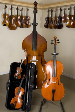 Rental bass, cello, violin and fractional violin with a violin case