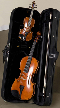 Rental violins with a case and bow